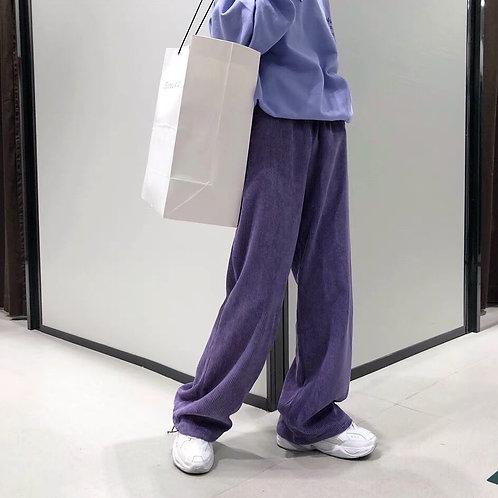 Purple wide leg corduroy drawstrings pants