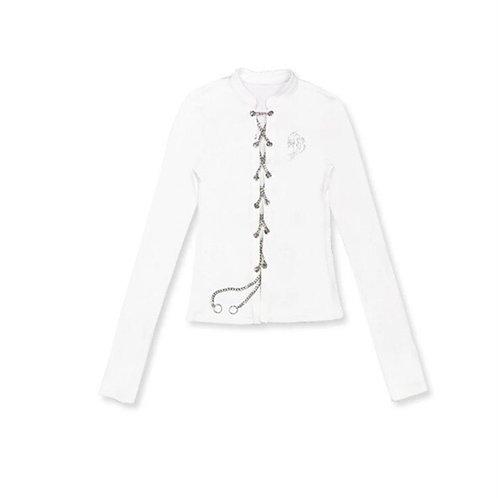 White Long Sleeves Top with Metal Drawstring & Diamond