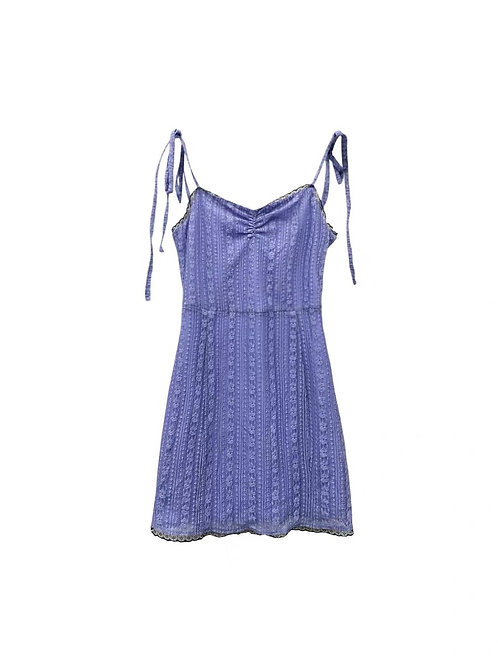 Purple Strap Dress with Lace