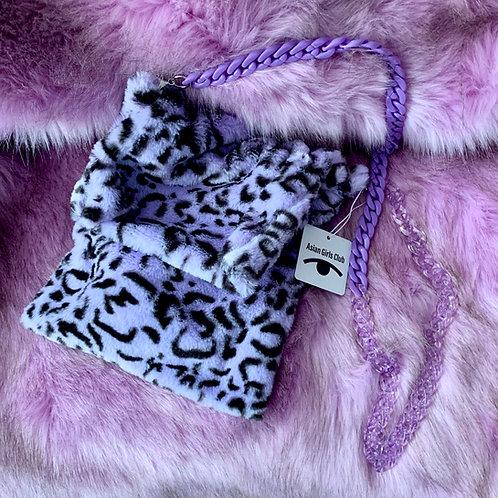 Purple leopard Faux Fur Shoulder Bag