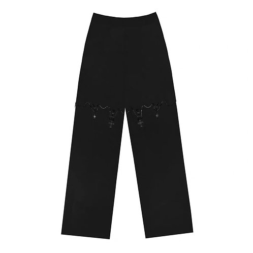 Black Straight Pants with Diamond Crossing