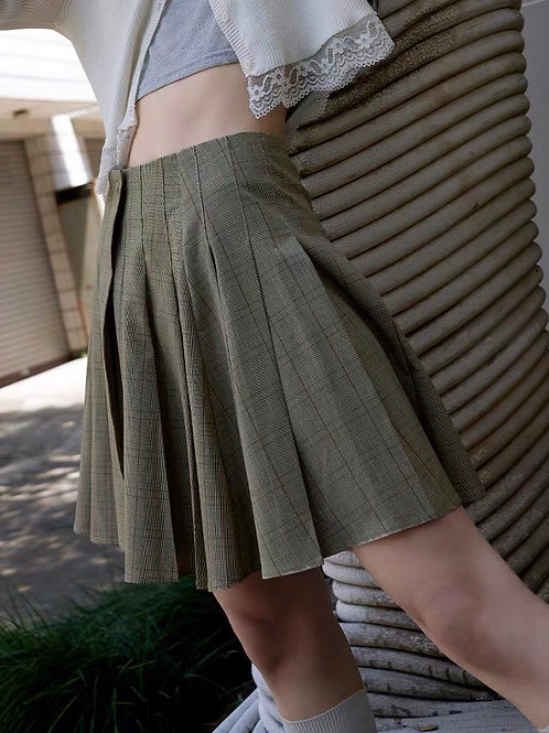 Green Checked Pleated Skirt