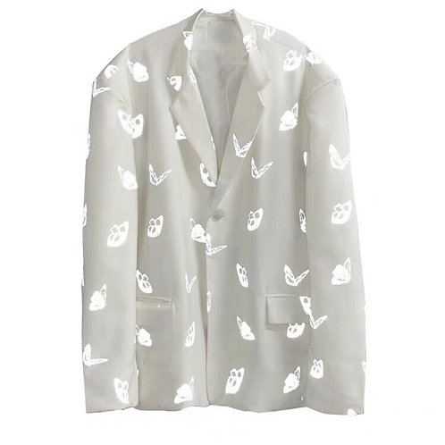 Unisex White Blazer with 3M Reflective Butterflies