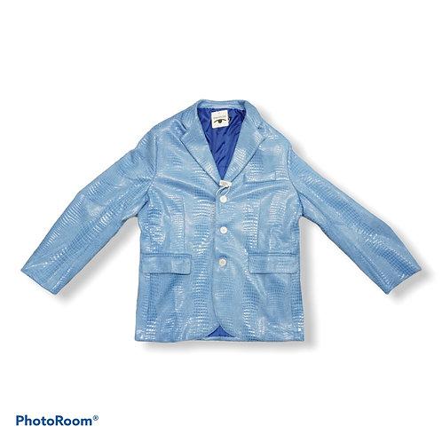 Faux leather blue snake print blazer