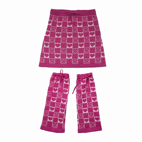 Pink Knitted Skirt & Leg Warmer with Heart Print