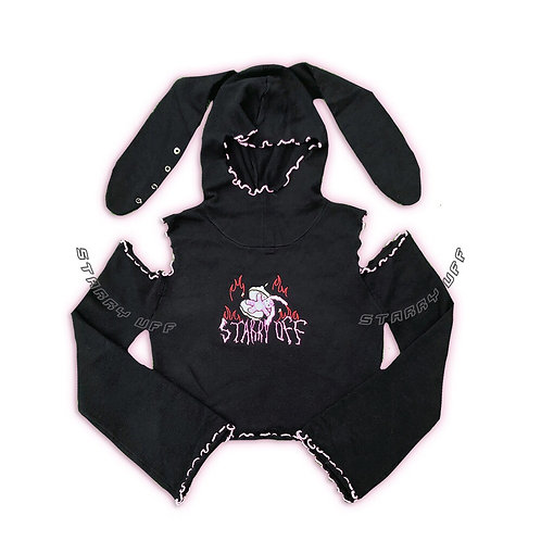 Starry Uff Black Knitted Crop Top with Rabbit Details