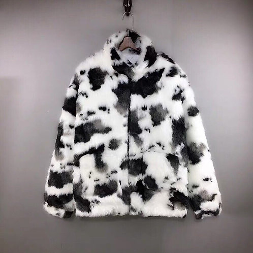 Extra Warm Cow Print Faux Fur Jacket