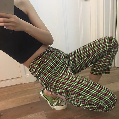 Neo Green/Red Checked Cropped Pants