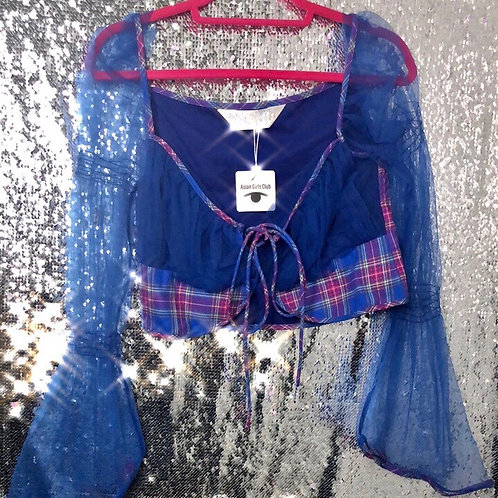 Checks Corset Top with See Through Ruffles Sleeves