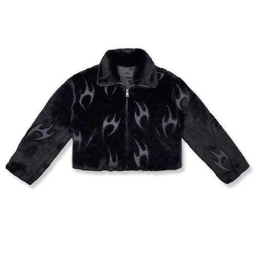 Black Faux Fur Jacket with 3M Reflective Fire