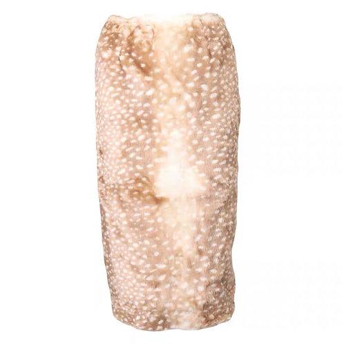 Deer Print Faux Fur Long Skirt