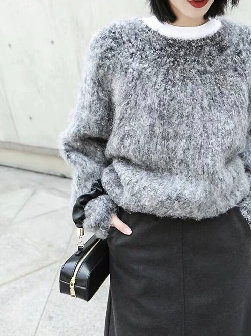 Gray Fluffy Knitted Sweater