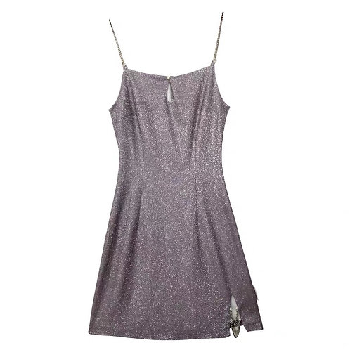 Purple Blingbling Strap Dress