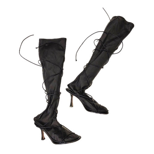 Black Vegan Leather Knee-high Boots with Drawstring