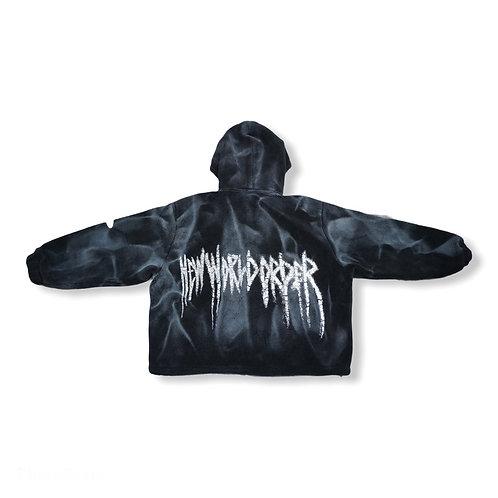 Unisex oversized soft fluffy jacket with hoodie black