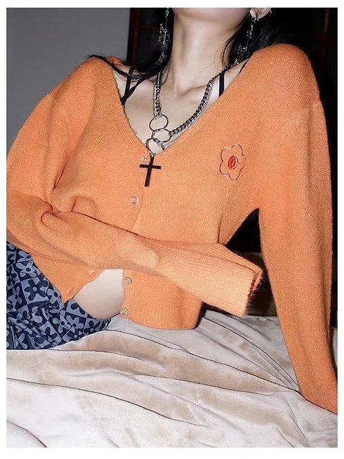 Orange Fluffy Long Sleeves Top
