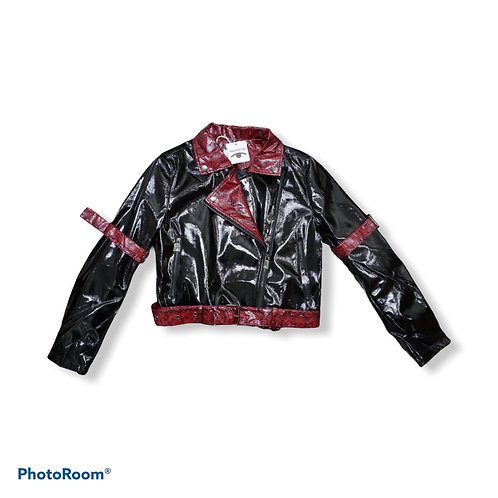 Black and red snake print faux leather jacket