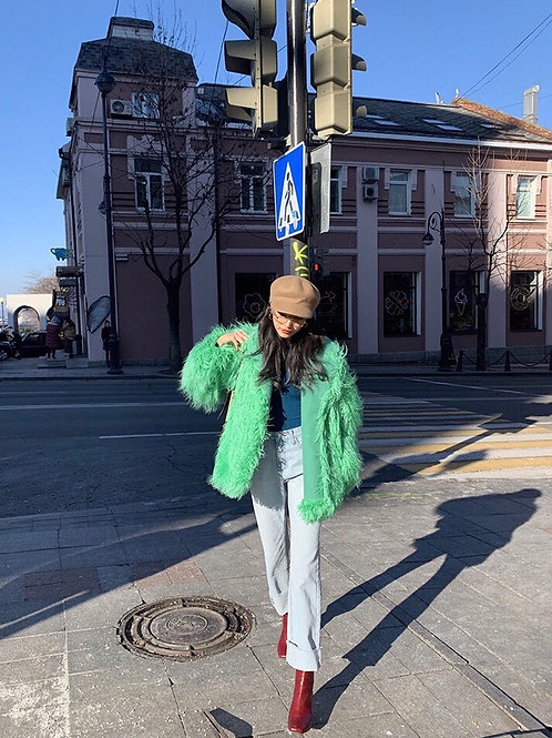 Green Faux Fur Loose Coat