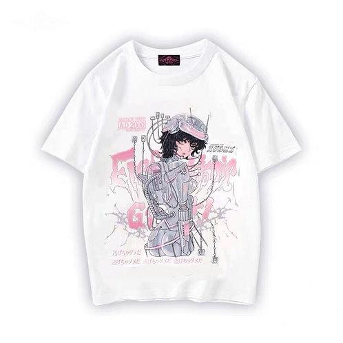 Starry Uff White Robot Girl Print T-shirt