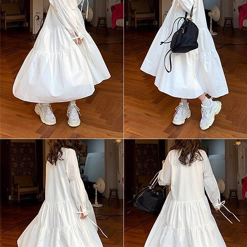 White layers long shirt dress with bow