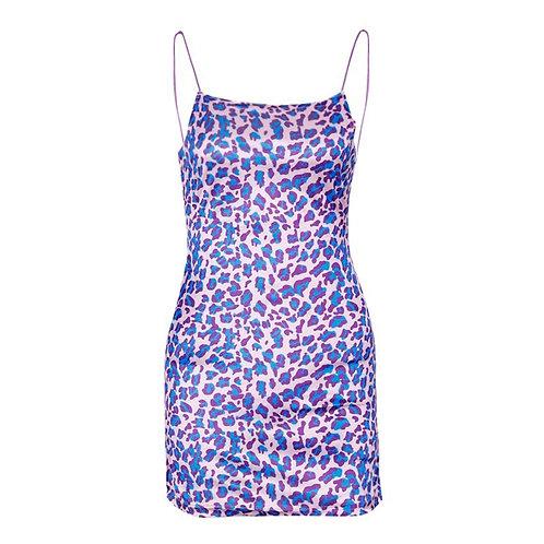 Purple Leopard Strap Dress