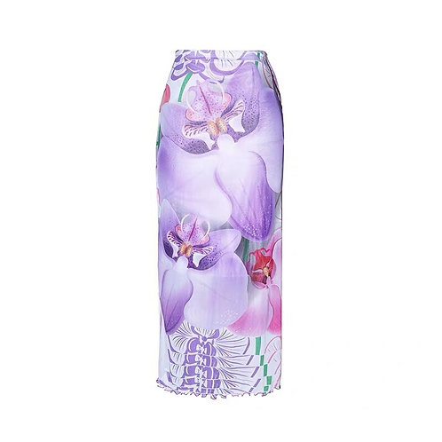 Purple Mesh Midi Skirt with Violet Print