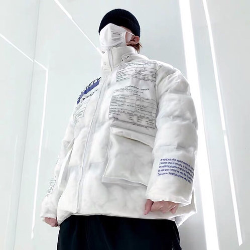 Unisex White Transparent Down Jacket