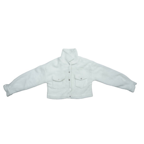 White cropped fluffy jacket with pockets