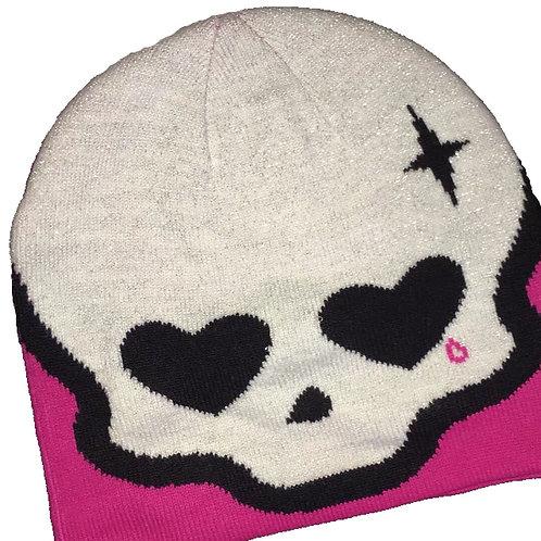 Pink Skull Print Knitted Beanie
