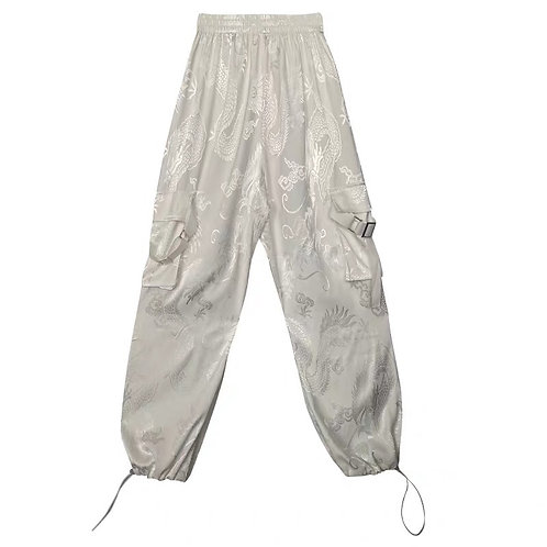 White Satin Pants with Dragon Embroidery & Drawstring