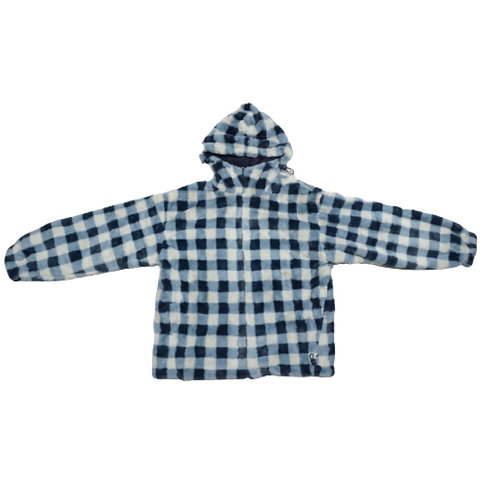 Blue and white checked fur jacket