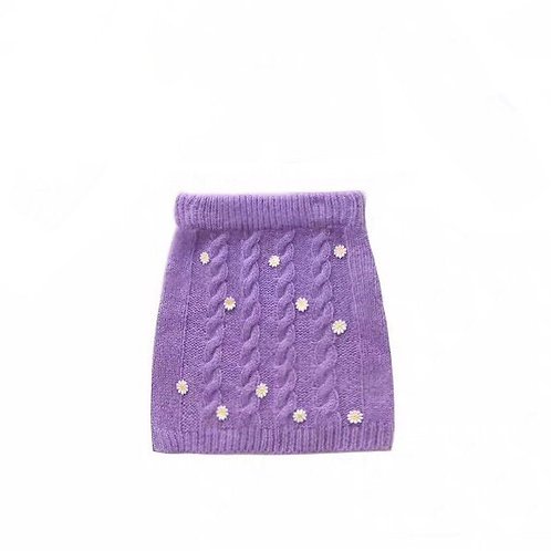 Purple Daisy Elastic Knitted Skirt