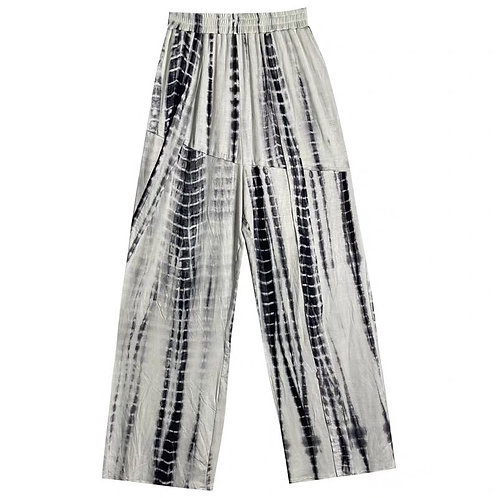 White/Black Tie Dye Loose Straight Pants