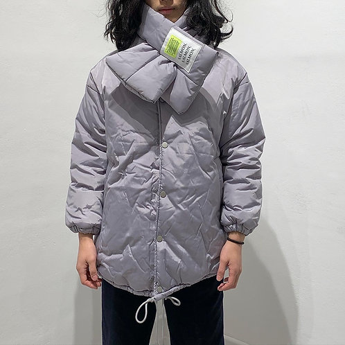 Silver Cotton Jacket with Scarf