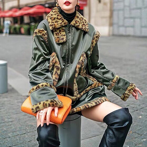 Oliver Green Pu Leather Jacket with Leopard Faux Fur