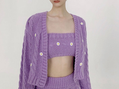 Purple Daisy Elastic Knitted Tube Top