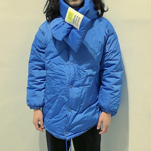 Blue Cotton Jacket with Scarf