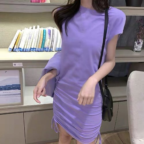 Purple Strap Dress with Drawstring