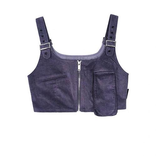 Purple Crop Strap Top with Pocket