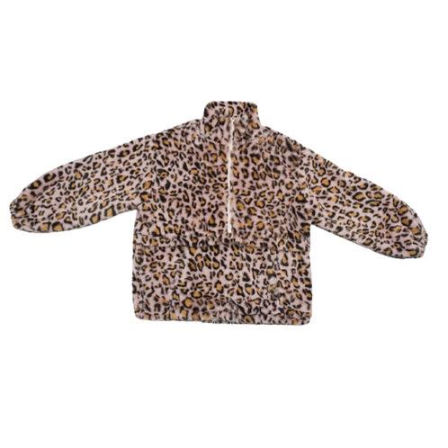 Leopard print fluffy jacket