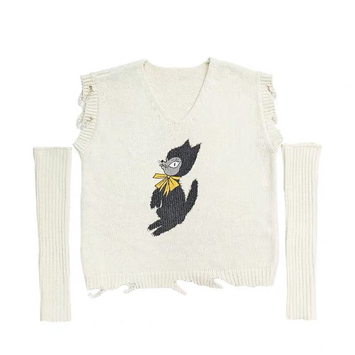 White Sweater Vest with Black cat & Sleeves