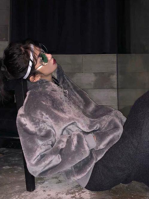 Gray Soft Fluffy Faux Fur Jacket