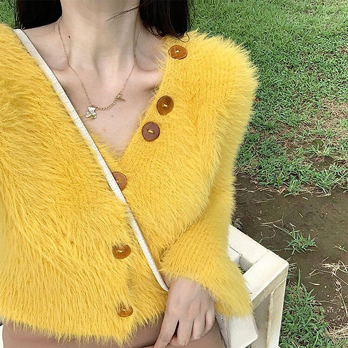 Yellow Fluffy Mohair Top with Flared Sleeves
