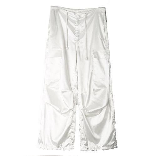 White Silk Straight Pants