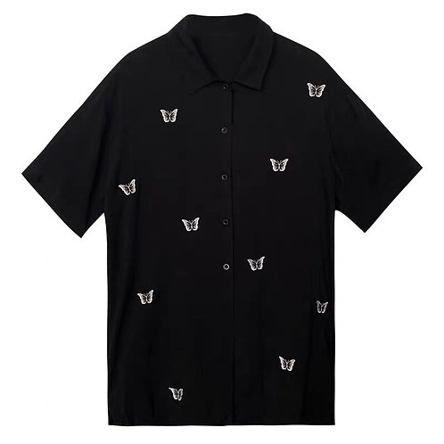 Black Shirt with Butterflies Embroidery