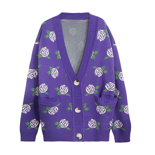 Purple Knitted Cardigan with Rose Print