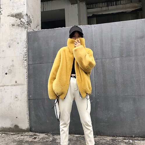 Yellow Faux Fur Short Jacket With Turtleneck