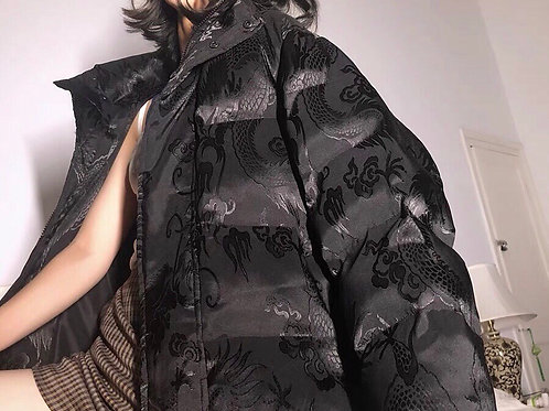 Black Down Jacket with Chinese Qipao Dragon Pattern