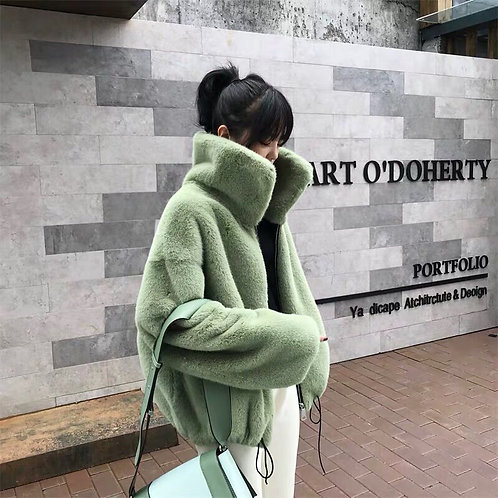 Green Faux Fur Short Jacket With Turtleneck