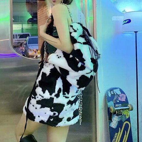 Cow Print Faux Fur Backpack with Chain